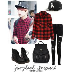 """""""Jungkook Inspired Outfit"""" by btsoutfits ❤ liked o Kpop Fashion Outfits, Fashion Mode, Korean Outfits, Retro Outfits, Stylish Outfits, Korean Fashion, Cute Outfits, Teenager Outfits, College Outfits"""