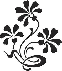 Folk Embroidery, Embroidery Designs, Royal Icing Templates, Flower Silhouette, Stencil Patterns, Black Flowers, Black N White Images, Mosaic Designs, Cute Crafts