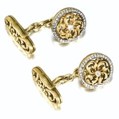 A PAIR OF FABERGÉ JEWELLED GOLD CUFFLINKS, WORKMASTER AUGUST HOLMSTRÖM, ST PETERSBURG, CIRCA 1890 formed as pierced rosettes of scrolly acanthus leaves centring a circular-cut diamond, rose-cut diamond border, the bars of openwork scrolls and flowerheads, struck with workmaster's initials, scratched inventory number 58221, 56 standard diameter: 1.4cm, 1/2 in. Estimate 6,000 — 8,000 GBP LOT SOLD. 23,750 GBP