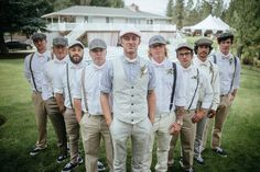 Matt Shumate Photography at The Ridge at Rivermere wedding venue groom  and groomsmen standing in V portrait no suits, khaki pants, vest and pink bowties, berets