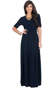$64.95 - Koh Koh Women's Half Sleeve Elegant Evening Long Maxi Dress with Belt - Small - Navy Blue (also in Black, Slate Grey, Cobalt Blue, Magenta Purple, Teal, Latte) Koh Koh http://www.amazon.com/dp/B00NFFLH54/ref=cm_sw_r_pi_dp_cAxkvb0PH8J7C