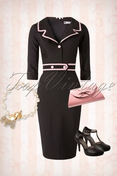 Daisy Dapper - TopVintage exclusive ~ 50s Emma Pencil Dress in Black and Pink