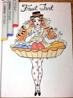 last week of Inktober Fantasy Character Design, Character Design Inspiration, Character Art, Pretty Art, Cute Art, Copic, Inktober, Cute Food Drawings, Marker Art