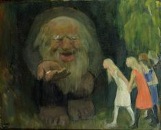 Erik Theodor Werenskiold - The Troll Lured the Girls with Gold Theodore Kittelsen, Troll, Oil On Canvas, Scandinavian, Fantasy, Drawings, Painting, Girls, Book Illustrations