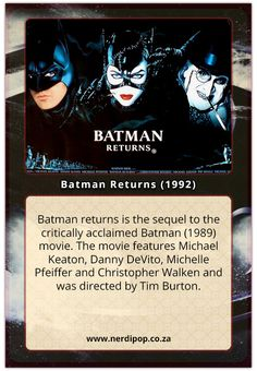 Batman returns is the sequel to the critically acclaimed Batman (1989) movie. The movie features Michael Keaton, Danny DeVito, Michelle Pfeiffer and Christopher Walken and was directed by Tim Burton. Read more here: http://wp.me/p5918q-HS #batmanreturns #timburton #timburtonmovies #michaelkeaton #dannydevito #michellepfeiffer #christopherwalken #batman #catwoman #penguin