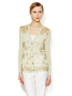 Lace Striped Wool Cardigan by Valentino on Gilt.com
