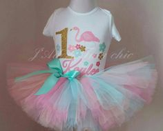 Check out this item in my Etsy shop https://www.etsy.com/ca/listing/249975569/flamingo-birthday-outfit-mint-pink-gold