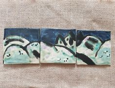 Ceramic Wall Art, Mountain Art, Handmade Tiles, Unusual Gifts, Dark Colors, Rustic Decor, Sheep, Original Artwork, Pottery