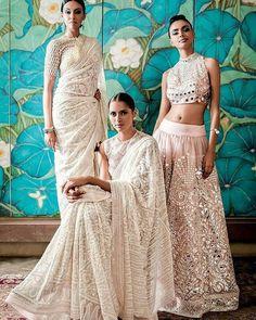 Abu Jani Sandeep Khosla Collection Embellished White Sarees and Light Pink Mirror Work Lehenga. India Fashion, Ethnic Fashion, Asian Fashion, Indian Attire, Indian Ethnic Wear, Indian Dresses, Indian Outfits, Style Indien, Designer Bridal Lehenga