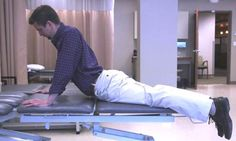 Shifting your hips to one side while pressing up can help treat back pain.
