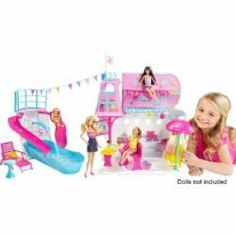 Barbie,her family and friends can sail the ocean in style. This Cruise Ship has realistic looking accessories that come with it and lots of areas...