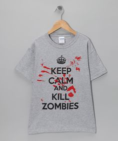 Another great find on #zulily! Heather Gray 'Keep Calm and Kill Zombies' Tee - Boys by Crazy Dog #zulilyfinds