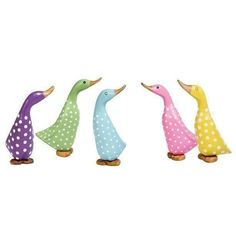 Coloured Spotty Duckling from DCUK. Wooden Duck Ornament | eBay