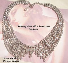 September sale many items reduced from 20 to 60% off Visit my Ruby Plaza Shop Link on home page     Sensational Wide Collar Rhinestone Necklace Bright Emerald cut from vintageshari on Ruby Lane