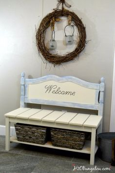 Brilliant DIY Decor Ideas for The Bedroom - DIY Twin Headboard Bench Tutorial - Rustic and Vintage Decorating Projects for Bedroom Furniture, Bedding, Wall Art, Headboards, Rugs, Tables and Accessories. Tutorials and Step By Step Instructions http:diyjoy.com/diy-decor-bedroom-ideas
