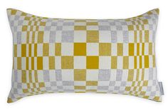Full of movement, this geometric pattern is inspired by the paintings of Op Artist Bridget Riley while its modernist weave takes influence from the pioneering work of the Bauhaus' textiles department. Designed by Eleanor Pritchard, the Sandstone Contemporary Cushions, Modern Cushions, Luxury Cushions, Cocktail Chair, Anglepoise, Weaving Textiles, London, Soft Furnishings, Textile Design
