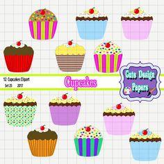 Imágenes Prediseñadas de cupcakes - cupcake clip art, gráfico digital para scrapbookings, pasteles, panadería, dulces, frosting, chocolate de CuteDesignPapers en Etsy