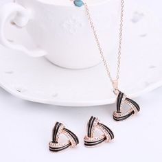 Charming Hollow Out Rhinestone Triangle Pendant Necklace and Earrings For Women #CLICK! #clothing, #shoes, #jewelry, #women, #men, #hats, #watches