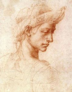 Michelangelo Buonarroti (Italian, 6 March 1475 – 18 February 1564) Ideal Head Red chalk on off-white paper Ashmolean Museum, University of Oxford