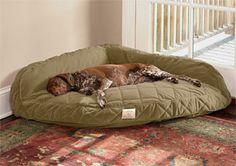 Fleece-lined deep dish dog bed with memory foam