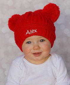e2c2f56e101 Princess Linens Red   White Personalized Pom-Pom Beanie - Infant