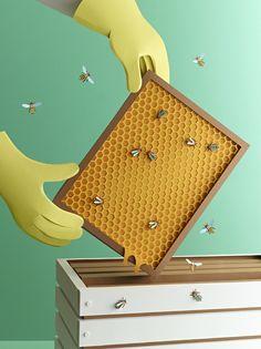 Katrin Rodegast Paper Art Illustration Bees