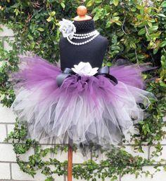 Royal Plum  Custom Sewn 3 Tiered Pixie Tutu  black by TiarasTutus, $46.00