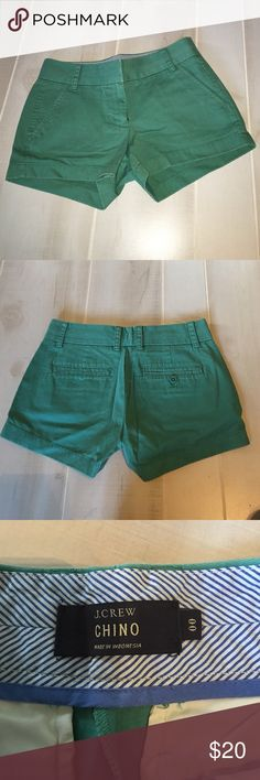 """J. Crew 3"""" Chino Shorts Greenish teal colored chino shorts with a 3"""" inseam. Only worn once, in excellent used condition. No trades. J. Crew Shorts"""