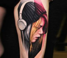 Girl with Headphone tattoo by Dave Paulo