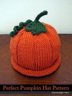 HAND KNITTED ADULT ALLOTMENT PUMPKIN SQUASH HAT.