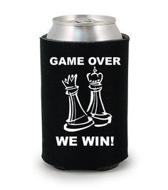 Game Over, We Win! wedding koozies  http://www.expressimprint.com/Custom/custom-koozies