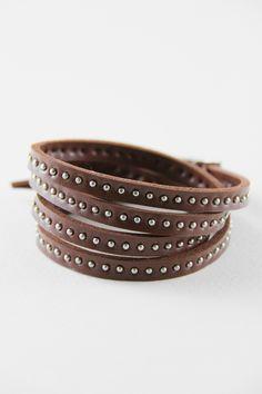 Brown Rivet Wrap Bracelet