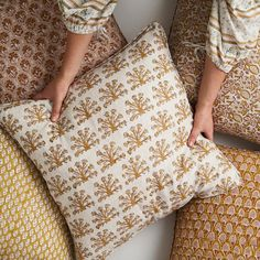 Hand Printed Fabric, Printed Cushions, Printing On Fabric, Pillow Inserts, Pillow Covers, Australian Boutique, Indian Block Print, Cover Style, Boutique Design