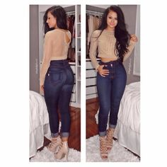 """Maria Palafox   Official IG on Instagram: """"Hello my loves  Happy Thursday. ✨ Top: @fashionnova Jeans: @fashionnova Search """"Classic High Waist Skinny Jeans"""" By far my fave!! Heels: @fashionnova Search """"Alexis heel"""" Use my code ✨XOXOMARIA✨ for 15% off at checkout! #fashionnova #novababe"""""""