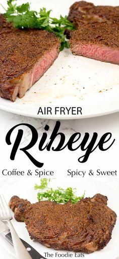 Air Fryer Steak - Coffee and Spice Ribeye Air Fryer Recipes Keto, Air Frier Recipes, Beef Recipes, Cooking Recipes, Healthy Recipes, Beef Meals, Healthy Meals, Healthy Food, Air Fryer Steak