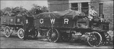 A Commer 34-seater bus acquired by the Lancashire & Yorkshire Railway in 1908 to operate its Chorley-Bamber Bridge route. The service ceased as a result of poor road conditions and lack of traffic, but this bus survived as a lorry until 1920. Ian Allan Library  The railways made some use of steam road vehicles, such as this Yorkshire solid-tyred steam wagon working from the Great Western Railway's Paddington Goods depot, and seen hauling a converted horse dray.