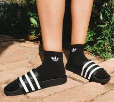 Adidas Instagram, Slide Rule, Socks, Pool Slides, Slide Sandals, Outfit Of The Day, Urban Outfitters, Sneakers, Outfits