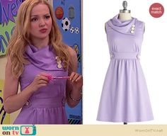 Liv's purple dress with white buttons on Liv and Maddie.  Outfit Details: http://wornontv.net/39119/ #LivandMaddie