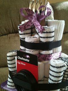 Kitchen Towel Cake, bridal shower gift : wedding black cake diy ...
