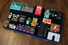 Here's my custom built pedalboard.  I lead worship in a venue where I am often the only electric and sometimes also the lead vocalist.  Needed a board that was super easy to use, loaded with ambient effects to create atmosphere, and switched rapidly between various sounds.  This is way bigger than I ever intended to have, but everything I need on stage is in one case and within reach.