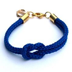 Cobalt Blue Nautical Rope Bracelet with Gold by omyheartkate, $22.00 etsy...davlin