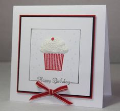 Stamps: Create a cupcake  Paper: White, Black, Red  Ink: Black, Real Red  Accessories: Liquid applique, Tiny circle punch, Dazzling Diamonds, Stickles, Real red SU ribbon