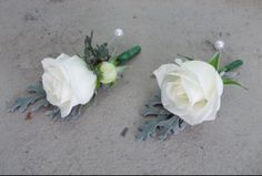 white rose and silver suede . dusty miller buttonholes