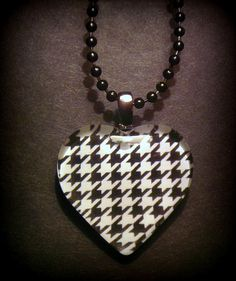 Houndstooth Necklace by Shae206 on Etsy, $10.00 Jewelry, handmade, glass pendant, Shae, 206