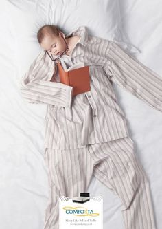 """Clever """"sleep like a baby"""" series of ads, although it seems they used the phrase """"sleep like it used to be.""""  Cultural translation?"""