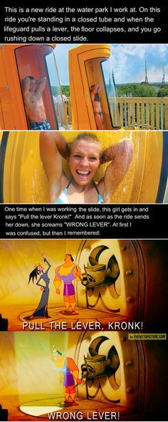 I think they have a slide like this at the Wet n' wild in florida or somewhere? But the reference to Emperor's New Groove makes me feel more capable of doing it, if only to quote the movie.