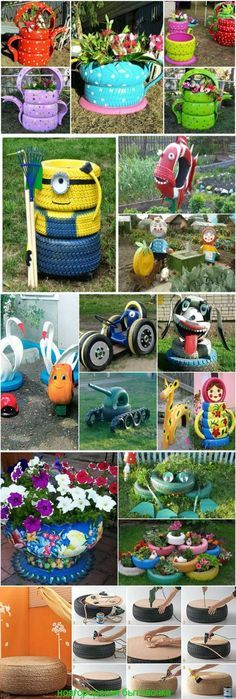 Diy Garden Projects, Garden Crafts, Outdoor Projects, Tire Craft, Tire Garden, Garden Kids, Tire Planters, Tyres Recycle, Used Tires