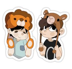 little dan and phil chibi's with their hats / available as stickers and phone cases! • Also buy this artwork on stickers and phone cases.