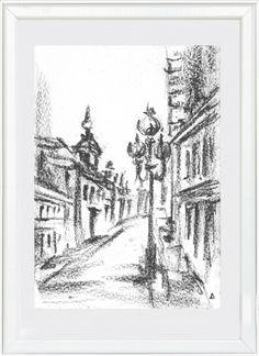 Картины для интерьера | Москва. Старый Арбат | Черно белая графика уголь городской пейзаж | Паспарту стекло багет | 700 р. Купить картину у художника | Подарок начальнику мужчине начальнице