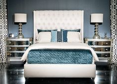 Fabulous High Fashion Home DIY Bedroom Makeovers - Stylish Eve Silver Bedroom, Glam Bedroom, Room Ideas Bedroom, Home Bedroom, Modern Bedroom, Bedroom Decor, Mirror Bedroom, Bedroom Stuff, Bedroom Inspo